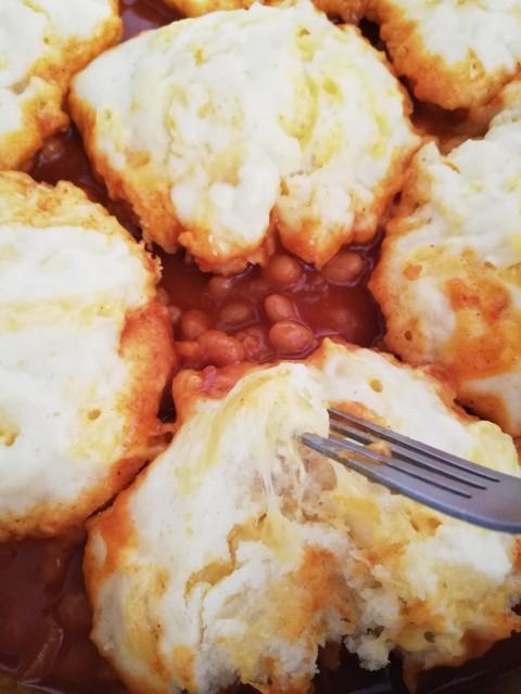 Cheesy Dumplings In Baked Beans