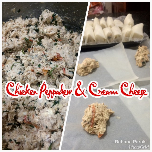 Chicken With Cream Cheese And Peppadews Spring Rolls