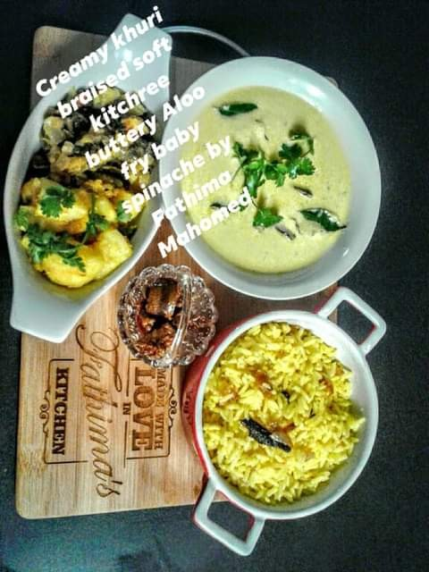 Creamy Khuri, Braised Soft Kitchree, Buttery Aloo Fry Baby Spinache