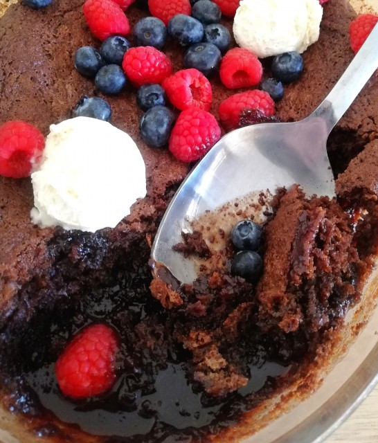 Chocolate Self-saucing Pudding (with Dark Choc And Berries)