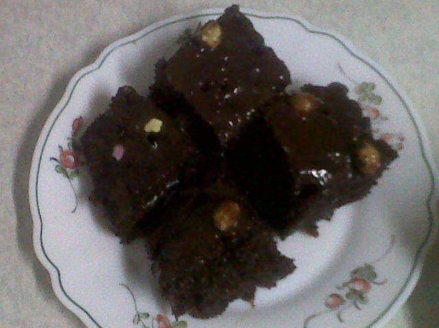 Chocolate Cake With Melted Chocolate Nut Sauce