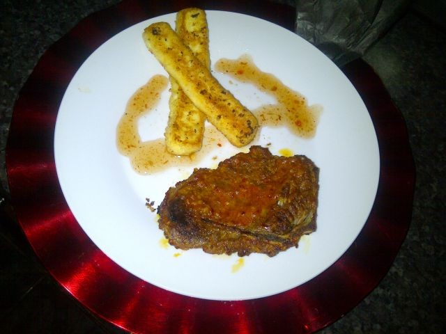 Saucy T-bone Steak Served With Haloumi Cheese