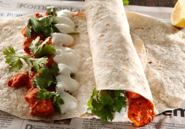 Buttered Chicken Wraps