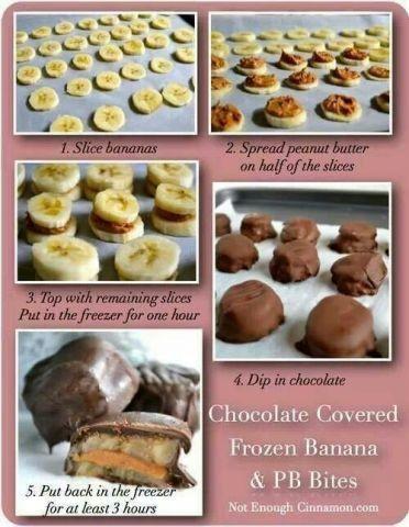 Choc Covered Frozen Banana & Peanut Butter Bites
