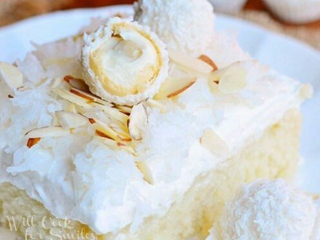 Raffaello Poke Cake: Coconut Cake With White Chocolate/coconut Cream & Whipped Topping