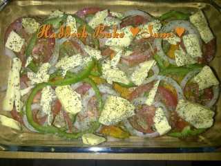 Baked Haddock With Onion And Pepper Rings