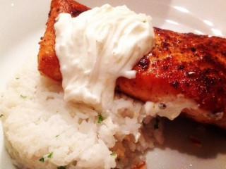 Cajun Spiced Salmon With Creamy Greek Yoghurt Sauce And Parsley Rice