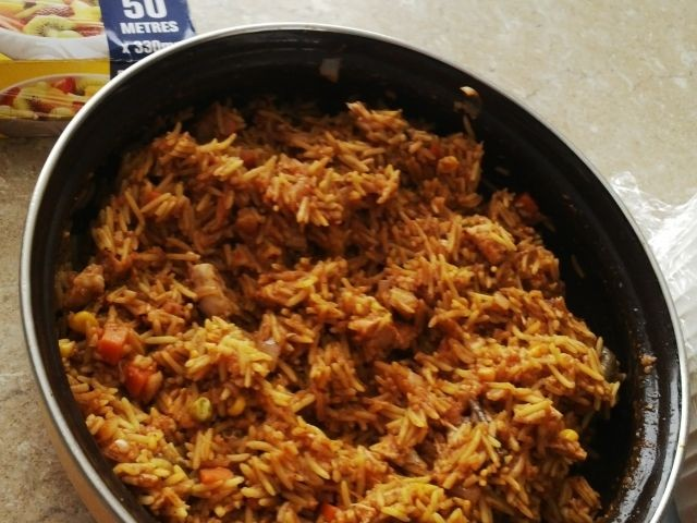 Savoury Rice With Chicken Cubes Inside