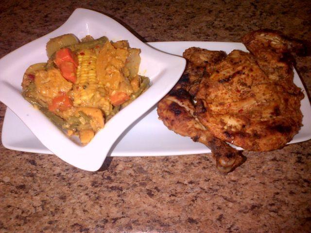 Home Made Chicken Tikka And Veggies