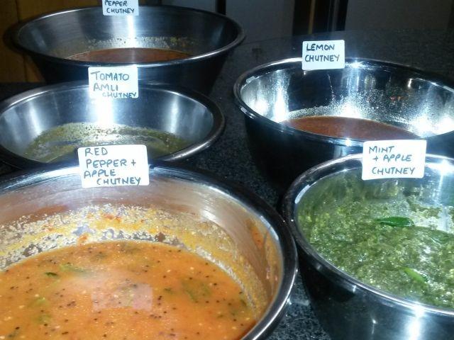 Dips N Chutneys( Assorted) - Lemon Chutney - Tomatoe Amli Chutney - Red Pepper Chutney  - Apple Chutney - Mint Chutney