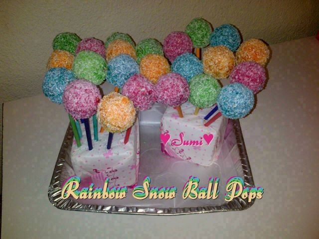 Rainbow Snow Ball Pops