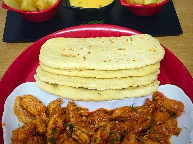 Saucy Chicken, Chips,  Cheesy Chilli Sauce And Pita