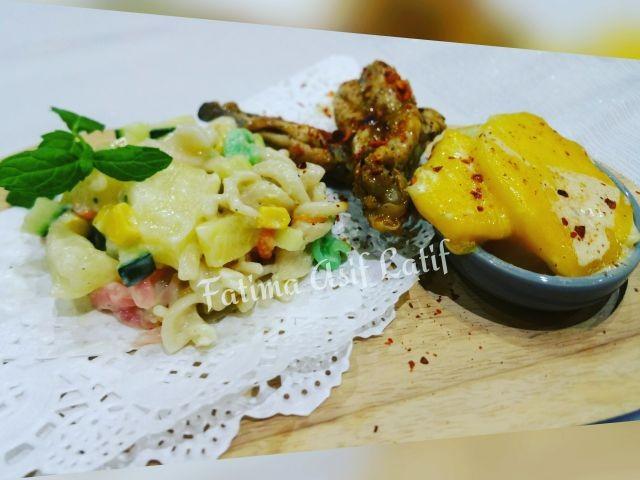 Peri Peri Chicken With Potato Bake N Hawain Pasta Salad