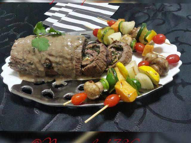 Stuffed Ribeye Steak With Vegetable Kebabs