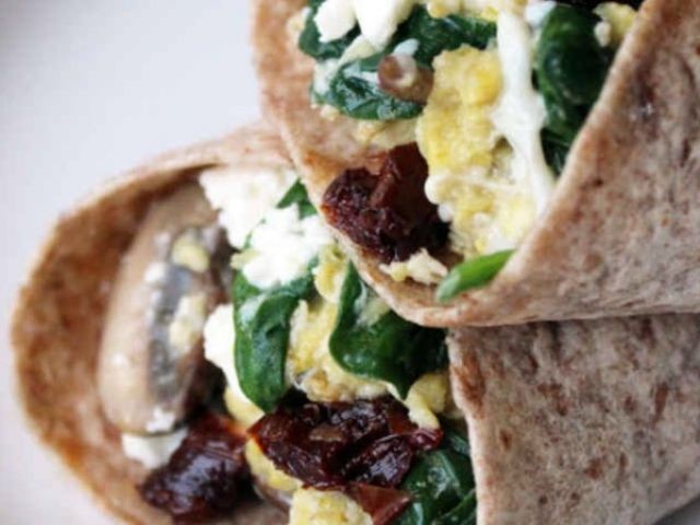 Scramble Egg Wrap With Sautéed Spinach And Mushrooms