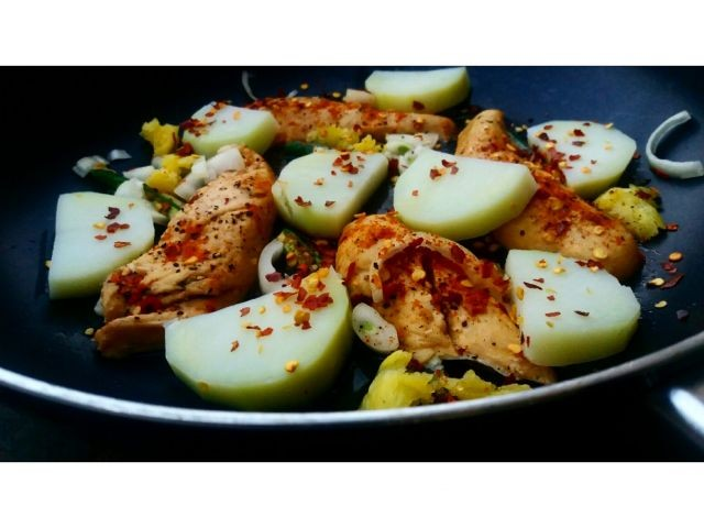 Pan Fried Chicken Breast Fillets With Potato Slices.