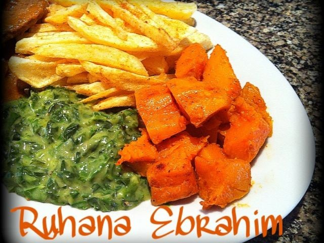 Creamed Spinach & Butternut Cubes