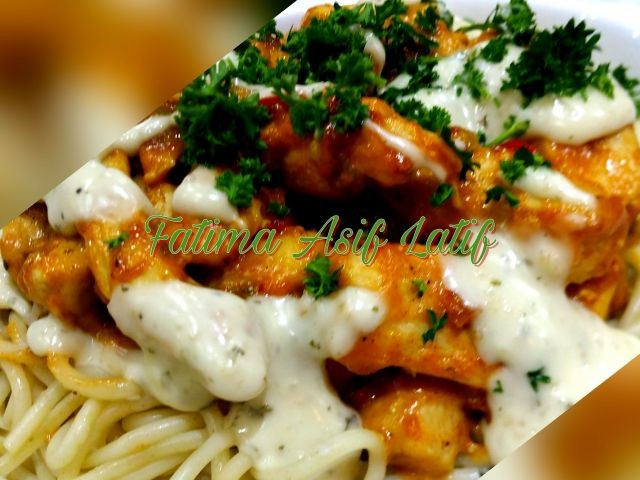 Saucy Garlic And Peri Peri Chicken Strips On A Bed Of Spaghetti