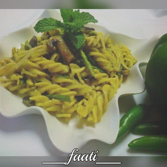 Pesto Pasta ( With Asparagus & Mushroom)