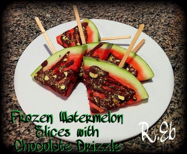 Frozen Watermelon Slices With Choc Drizzle