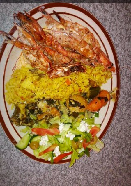 Lemon Butter Prawns Roasted Creamy Vegetables Greek Salad Spicy Rice
