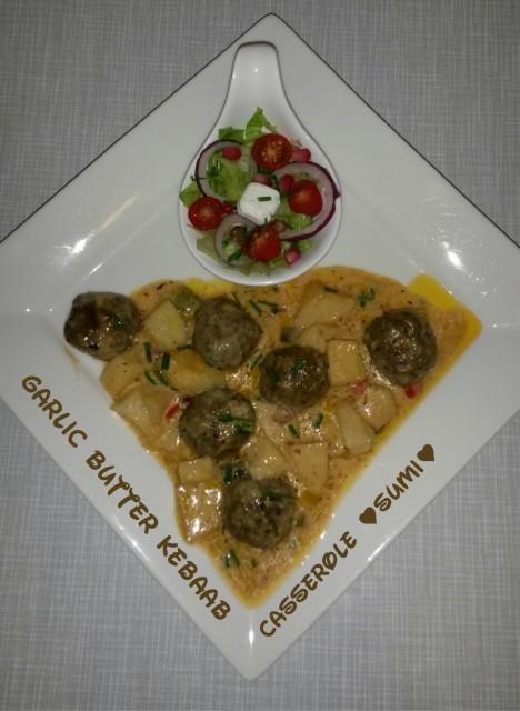 Garlic Butter Kebaab Casserole
