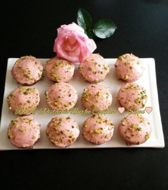 Pistachios Rose Burfi Cuppies