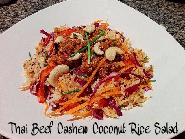 Thai Beef Cashew Coconut Rice Salad