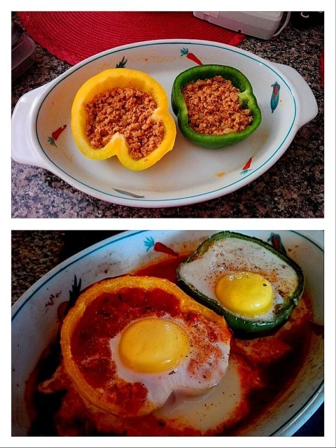 Baked Eggs In Stuffed Peppers 1