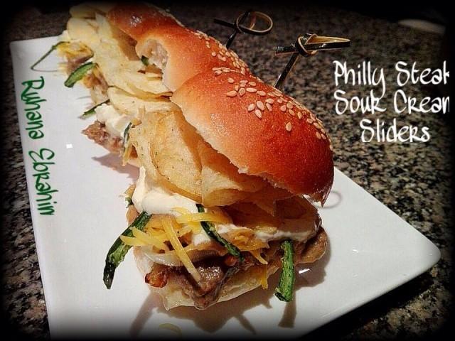 Philly Steak Sour Cream Sliders