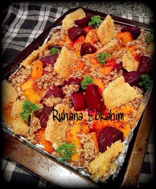 Roasted Beetroot Butternut Halloumi Quinoa Salad