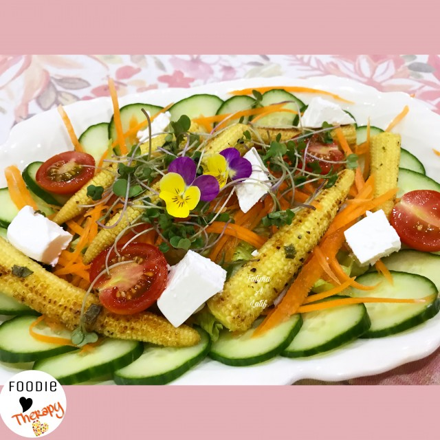 Salad With Grilled Baby Corn