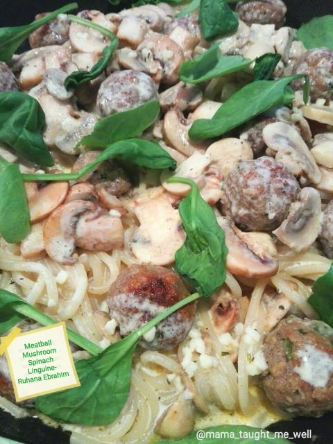 Meatballs Mushroom Spinach Creamy Linguine