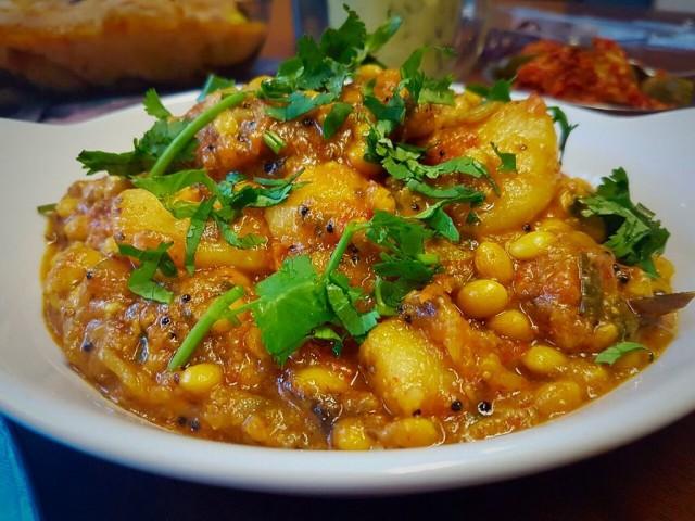 Papri , Brenjol And Potato Veg  Tarkari / My Version