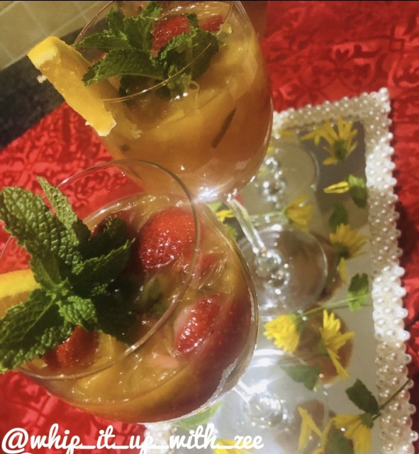 Strawberry And Orange Fruit Salad With Basil Infused Syrup