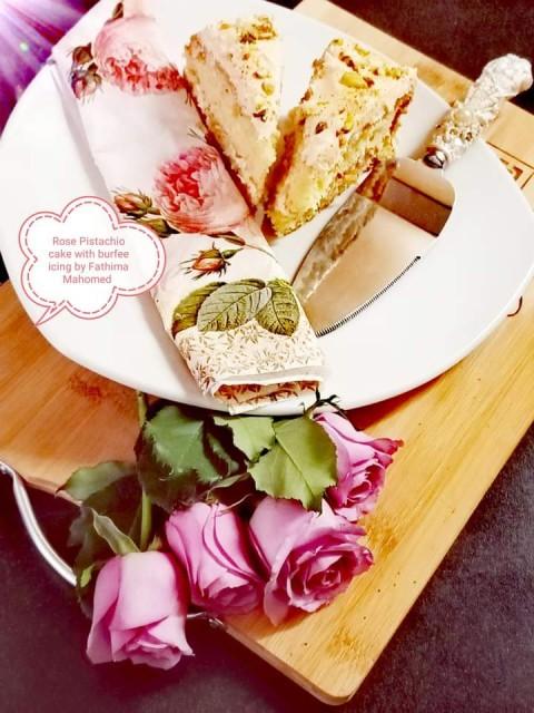 Rose Pistachio Cake With Burfee Icing