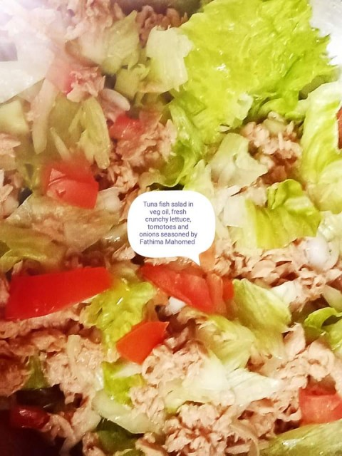 Tuna Fish Salad In Vegetable Oil, Omegas Balanced With Lettuce Tomotoes Red Onions Cucumber Topped With Avos