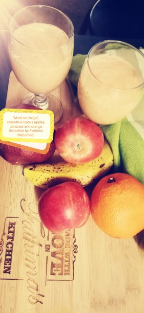 Cream-o-licious Bananas, Apples And Orange Smoothie, Meal On The Go