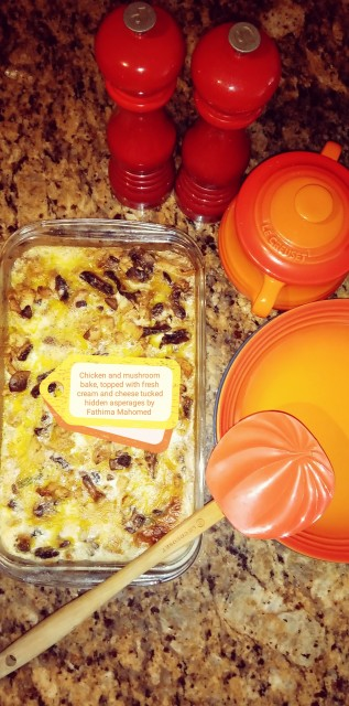 Chicken And Mushroom Bake In Cheese Sauce, Fresh Cream, Tucked In Asperages