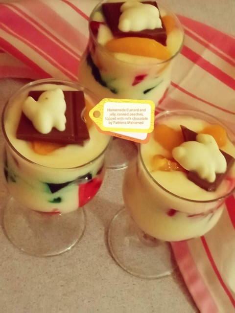 Custard N Jelly Topped With Canned Peaches... Milk Chocchi