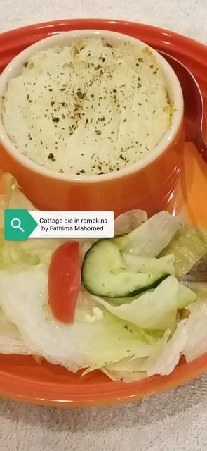 Mince Cottage Pie In A Ramekin With Garden Salad