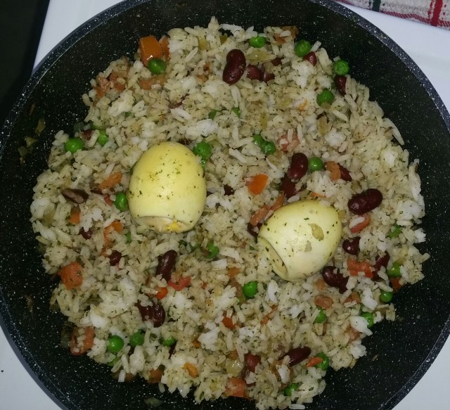 Boiled Eggs And Red Kidney Beans Rice
