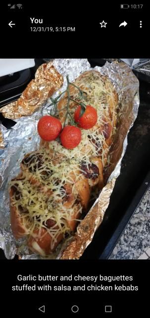 Kebab Stuffed Cheesy Garlic Butter Baguettes