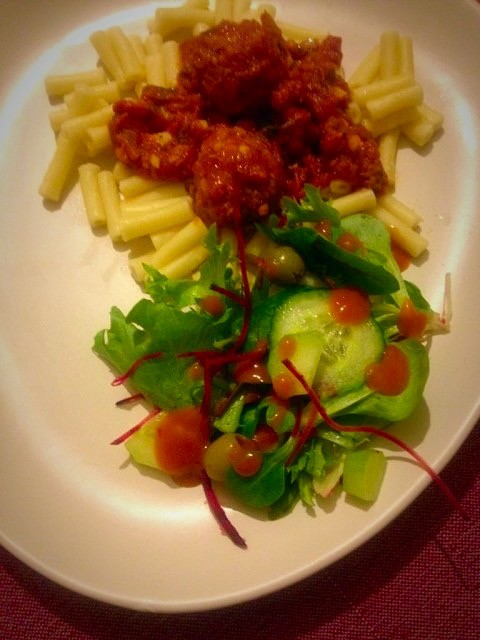 Garlic Butter Chicken Meatballs And Macaroni