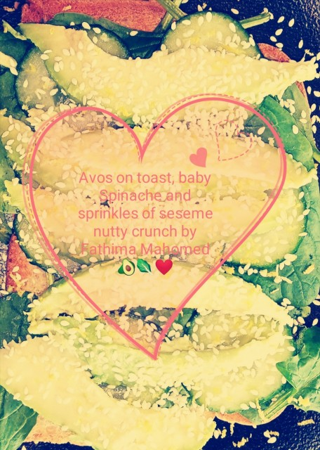 Avos On Toast, Baby Spinache Nutty Crunchy Seseme Drizzles