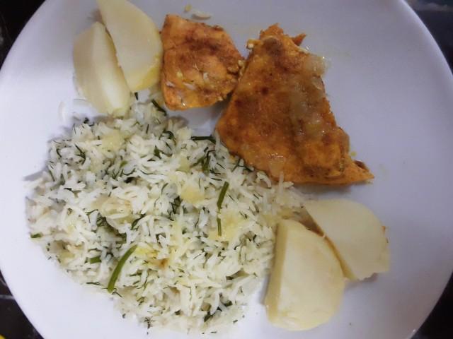 Pan Fried Masala Salmon With Lemon Dill Rice And Potato Wedges