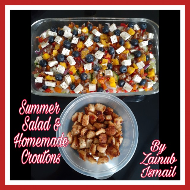 Summer Salad & Homemade Croutons With 1000 Island Dressing