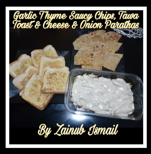Cheesy Garlic Thyme Chips, Tawa Toast & Cheesy Onion Parathas