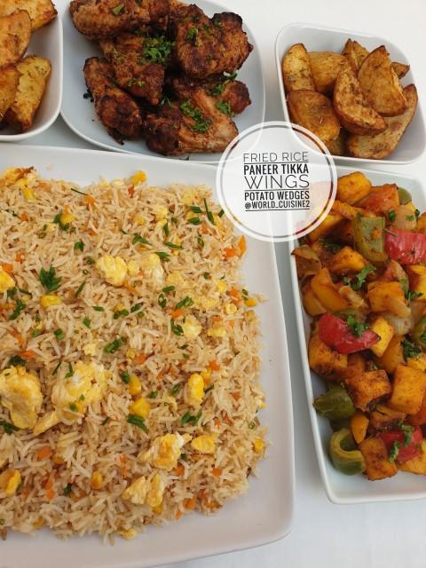 Fried Rice, Paneer Tikka, Chiken Wings, Potato Wedges