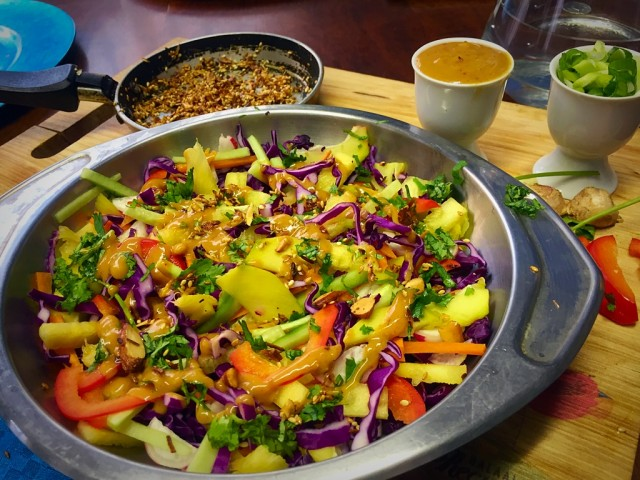 Asian Slaw With Peanut Dressing / My Version